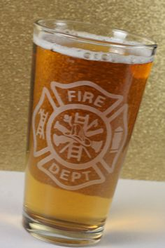 For those men and women who serve our neighborhoods as firefighters this is a great gift. We also have a fireman at work glass you can check out.   These glasses can be customized as well! • Onyx Friday Sale Price 20%Off (Regular price $15) •  Use code ONYX20 for discount on ALL items in the store 11/28 -11/29 from GlassBlastedArt
