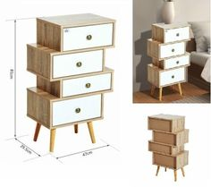 Bedside Table Wooden Chest Of 4 Drawers Bedroom Nightstand Cabinet Storage Unit  #Unbranded #ModernContemporary