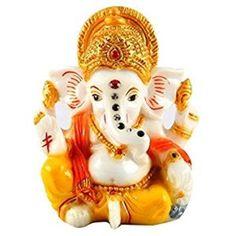 Gold Art India Gold Plated Terracotta Ganesha Idol (Off White) Ganesh Bhagwan, Ganesh Photo, Ganesh Idol, Ganesh Images, Ganesha Pictures, Sitting Buddha, Good Morning Wallpaper, Gautama Buddha, Birthday Gift For Wife