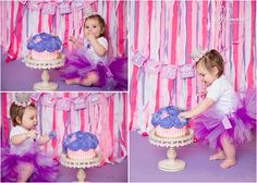 1st Birthday Cake Smash – Newport Beach, CA, purple and pink color scheme, crown, princess theme cake smash, girly, ribbon backdrop, great dane bakery, giant cupcake cake, butterflies, i am one, cake smash, girl, toddler, children, kids, babies, tutus, outdoors, studio garden, what to wear, toddler outfits, sisters, matching, bows, cute, GilmoreStudios.com