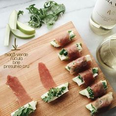 these prosciutto-wrapped apple bites are so easy to make. wrap a slice of prosciutto around an apple wedge, brie, and arugula to secure everything in place. be sure to pour yourself a glass of sauvignon blanc. appetizers with wine Edna Valley Vineyard Appetizers For Party, Appetizer Recipes, French Appetizers, Canapes Recipes, Spanish Appetizers, Easy Canapes, Raclette Recipes, Skewer Appetizers, Steak Recipes