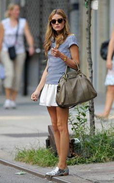* Striped rachel roy top + white skirt + oxfords
