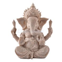 Hand Carved Sandstone Seated Ganesh Buddha Deity Elephant Hindu Statue Decor