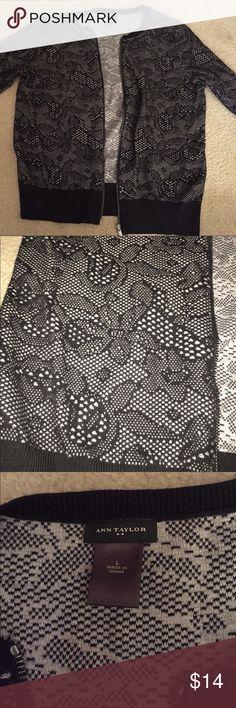 Ann Taylor 3/4 zip cardigan Black lace Ann Taylor size large 3/4 zip cardigan Ann Taylor Jackets & Coats