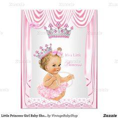Little Princess Girl Baby Shower Pink Blonde 4.25x5.5 Paper Invitation Card