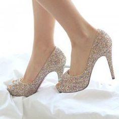 74880f958fa Platform pumps. See more. Delicate Sequins Golden Ladies High Heel Shoes    Wholesaleclothing4u.com