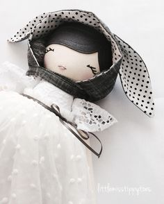 It's not all about the Petites though, there will be some Tippy Toes in my coming restock xx #littlemisstippytoes #clothdoll #handmadedoll #handmade #dollmaker #monochrome #tulle #polkadots
