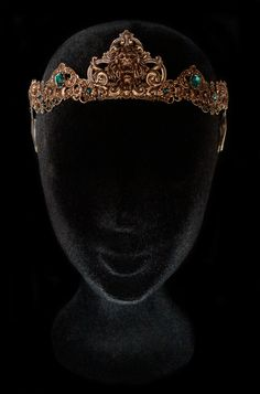 Lion Crown Bronze Circlet Tiara Green Emerald Cersei Lannister Medieval Renaissance Middle Age Jewellery Game of Thrones Hear Me Roar