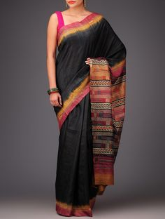 Buy Black Carmine Tussar Silk Kantha Embroidered Saree Sarees Art Reveal Tales Online at Jaypore.com