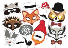 Woodland Party Photo booth Props Set - 18 Piece PRINTABLE - Fox, owl, badger, rabbit, gnome, mustache, masks, Baby shower Photobooth Props by TheQuirkyQuail on Etsy