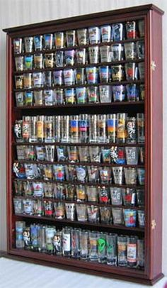 LARGE, 144 Shot Glass Display Case Wall Holder Cabinet Shadow Box is part of Display cabinet Kids - Shadow Box Display Case, Glass Display Case, Display Boxes, Display Shelves, Display Cabinets, Tequila, Glass Shadow Box, Shot Glasses Display, Glass Rack