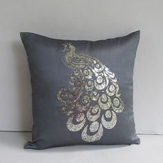 silver sequin peacock pillow cover 18 inch Custom made
