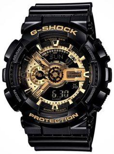 G Shock Military Mens Brand Watch Black Gold Tone Dial Ga-110Gb-1 New Digital #Casio