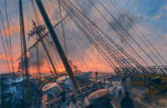Geoff Hunt 'The Wine-Dark Sea' limited edition print. This print is cover art from Patrick O'Brian's Aubrey-Maturin series book. Submarine Museum, Nautical Artwork, Patrick O'brian, Old Sailing Ships, Naval History, Navy Ships, Boat Plans, Ship Art, Fishing Boats