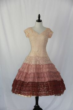 Vintage Ombre Lace 1950's Dress   Tiered by VintageFrocksOfFancy, $190.00