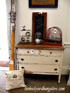 Knick of time featured: Jean@ The Backyard Bungalow did a wonderful job restoring this old dresser to chippy perfection!