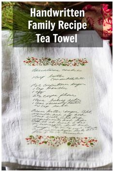 Handwritten Family Recipe Tea Towel Gift Do you have a handwritten recipe from a loved one who has passed? Rich Tea, Sibling Gifts, Diy Adult, Sewing Projects For Beginners, Diy Projects, Cricut Tutorials, Homemade Beauty Products, Nature Crafts, Easy Gifts