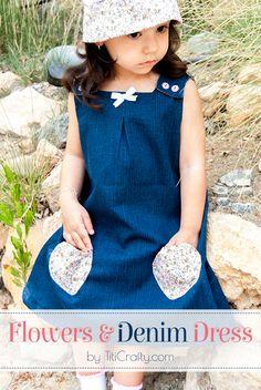Flower & Denim Dress for Little Girls Tutorial #denimdress #dresstutorial