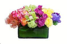 roses rainbow floral arrangement