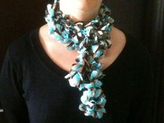 Unusual  Knitted Ruffle Scarf in Blue Brown and by knit1sell1, $14.00