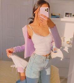 Fashion Tips Outfits .Fashion Tips Outfits Indie Outfits, Teen Fashion Outfits, Retro Outfits, Girly Outfits, Cute Casual Outfits, Summer Outfits, 90s Style Outfits, Purple Outfits, Purple Cardigan Outfits