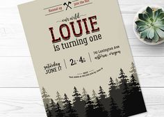 lumberjack birthday.  buffalo plaid.  trees.  forest.  pnw.  pacific northwest.  new england.  birthday invitation.  lumberjack party.