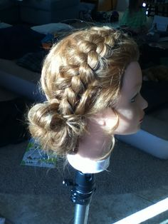 i did a loose dutch braid into a low ponytail, then i did medium sized curls for the ponytail, and folded/pinned the curls into a messy bun. i just used the same medium sized barrel curler for ringlets in the front on each side. this is my hairdo for my cousins wedding!