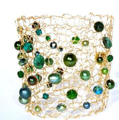 Emerald+Green+Cuff+Bracelet+Extra+Wide+Pearl+&+por+lapisbeach,+$85.00