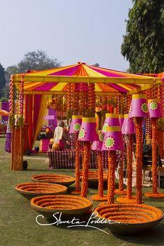 Marigold mehendi decor , upside down buckets, yellow and pink mehendi decor