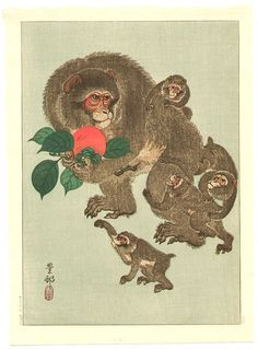 Ohara Koson: Mother and Babies - Early 20th Century
