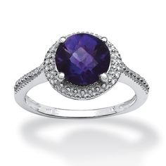 1.78 CT Round Amethyst Beaded Ring in Sterling Silver