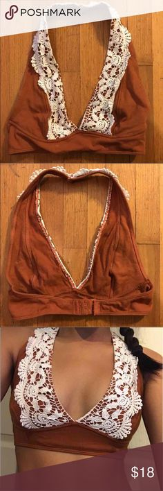 Urban Outfitters bralette Orange & white bralette, latch on back, fits sizes xs-s, cheaper on merc! Urban Outfitters Other