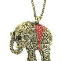 Amazon.com: Elephant Necklace Ruby Red Crystal Animal Ethnic Tribal Vintage Charm Pendant: Jewelry $3.90
