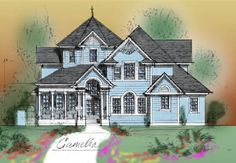 Front elevation of house sketch castles and mansions for New urbanism house plans