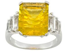 Yellow Fluorite 7.20ct Quantum (R) Cut With White Topaz 1.50ctw Baguette Sterling Silver Ring