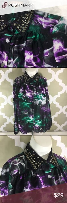ELLEN TRACY Studded Crystals Abstract Blouse •Studded and Crystal Collar •Long Sleeve •Beautiful Abstract Design •Can be used for work or afterwork •Bust 21 inches •Length 25 inches •100% Polyester •pintuck Back • Ellen Tracy Tops Button Down Shirts