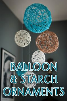 DIY- Yarn Ball Mobile - Make a solution of glue and water. Wet the yarn with mixture and wrap around an inflated balloon, let dry overnight Yarn Crafts, Diy Crafts, Craft Projects, Projects To Try, Crafts For Kids, Arts And Crafts, Diy Bebe, Idee Diy, Blog Deco