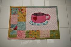 Mug Rug with Free PDF - I need to make one in blue for him and pink for me! :)