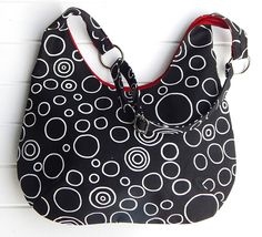 Ladies Adjustable Hobo Handbag Purse Black and White Bubble Design