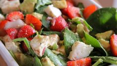 Strawberry, Spinach, Avocado and Goats Cheese Salad