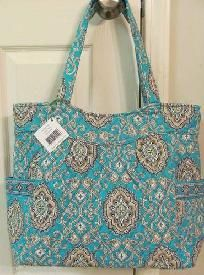 35d21bdc56 Vera Bradley TOTALLY TURQ PLEATED TOTE PURSE RETIRED PATTERN New W-Tags  FREE SHIPPING REDUCED  5