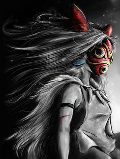 Miyazaki's Mononoke Hime Digital Painting the Wolf Princess Warrior Color Variation Art Print