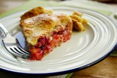 Rhubarb and blackberry country cake