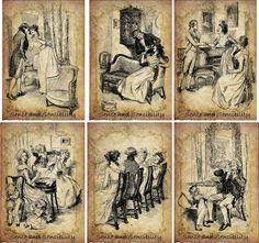 Vintage Illustrations Jane Austen Sense and Sensibility Cards Scrapbooking 6 | eBay