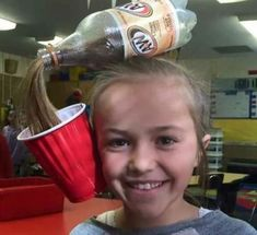 Washing your hair with coke is apparently a thing, so clearly this little girl is hopping on the beauty trend train ... with root beer. Learn more at Imgur.