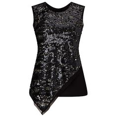 Buy Phase Eight Gayle Asymmetric Sequin Top, Black Online at johnlewis.com