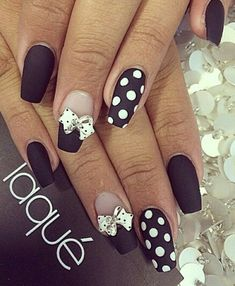 Black polka dot white bow matte nails