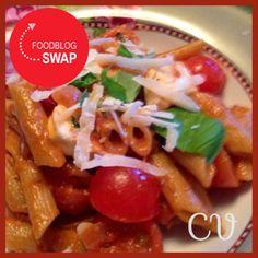 Food & Health: Penne met cherrytomaatjes, mozzarella en rode pesto