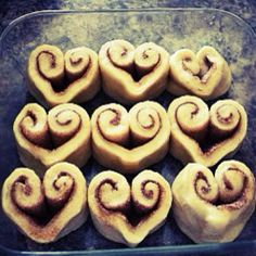 Turn your pillsbury dough cinnamon rolls into hearts for a sweet v-day breakfast for the kids.