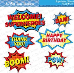 Superhero Text and Bubbles Clipart 3 Superhero by CeliaLauDesigns